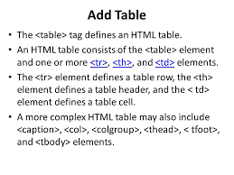 Html Table Header Row Chapter 5 Working With Tables Agenda Add A Table Assign A Table