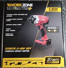 work zone rechargeable led work light aldi workzone titanium xfinity li ion 20v cordless hammer drill and
