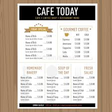 menu design of cafe menu design cafe restaurant template with icons and text stock