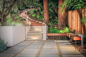 railroad ties landscaping landscape contemporary with redwood