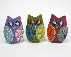 felt owl ornaments puffin patchwork