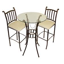 High Bistro Table Set Outdoor Fancy Glass Top 3 Piece Pub Table Set Hayneedle