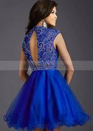 a line high neck royal blue organza beaded knee length prom dress