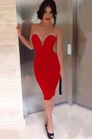 knee length red dress dress yp