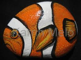 painted stone river rock tropical fish garden stone