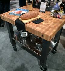 kitchen bath garage color palette news eye on design by dan the company debuted its new butcher block topped rolling cart which works well as a small kitchen island or versatile counter extension