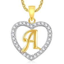 jewelry locket necklace images Buy meenaz gold plated alphabet 39 a 39 letter heart pendant locket jpg