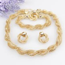 gold necklace bracelet earrings set images Dazzling yang 39 s romantic vintage gold plated 4pcs chunky statement jpg