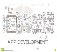 app development process elements creative sketch infographic stock