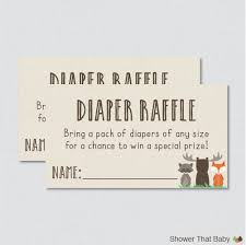 woodland baby shower diaper raffle ticket cards and diaper