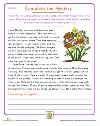 paragraph stories for reading comprehension fourth grade reading practice complete the mystery worksheet