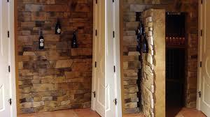 Rustic Laminate Wood Flooring Interior Blue Painted Hidden Door Bookshelf Brown Laminate Wood