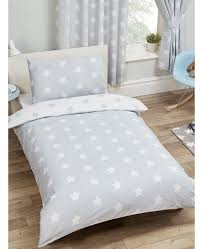 grey and white stars single duvet cover and pillowcase set bedding