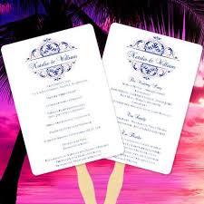 program fan wedding program fan grace blush pink navy blue wedding template shop