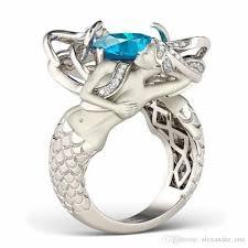 fashion gemstone rings images 2018 fashion cute mermaid gemstone ring jewelry cushion cut 8mm jpg
