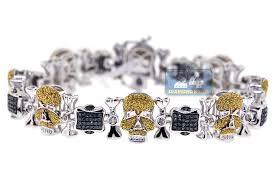 gold skull bracelet men images Mens yellow blue diamond skull bracelet 14k white gold 3 01 ct jpg