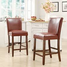 furniture brown leather counter height bar stools wood legs and