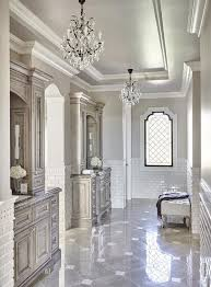 luxurious long gray french master bathroom is clad in gray marble