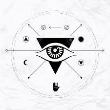 vector geometric alchemy symbol with eye sun moon crossing arrows