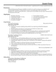 sample district manager resume operations manager resume sample