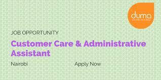 Recruiting Assistant Job Vacancy Customer Care U0026 Administrative Assistant Duma Works