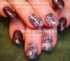 easy spring flower nails cherry blossom nail art design tutorial