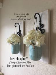 Mason Jar Wall Planter by Set Of 2 Mason Jar Sconces Mason Jar Wall Decor Country