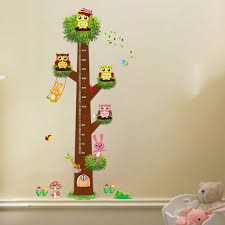 owl rabbit removable pvc wall decal sticker kids height measuring owl rabbit removable pvc wall decal sticker kids height measuring chart free shipping