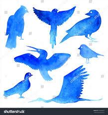 set watercolor silhouette birdsart draw design stock illustration