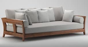 Wooden Sofa Bed 3d Model Grey U0026 Wooden Sofa Cgtrader