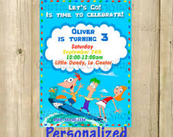phineas and ferb invitations etsy es