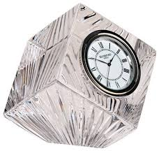 Small Glass Desk Clock Amazon Com Waterford Crystal Meridian Small Clock Home U0026 Kitchen