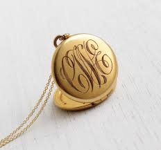 monogrammed locket vintage monogrammed locket necklace antique 1940s sweetheart gold