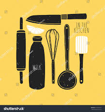 the kitchen designer hand drawn kitchen set utensils vector stock vector 318937619
