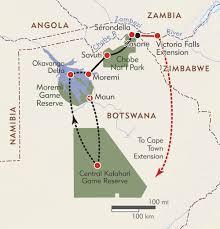 africa map kalahari botswana kalahari explorer itinerary map wilderness travel