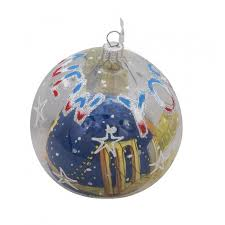 nyc bridge bauble clear glass ornament