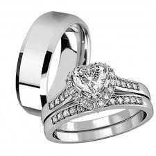 ring sets his hers 3 pcs tungsten matching band women heart cut sterling