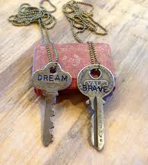 key necklace images Inspirational word stamped vintage key necklace jewelry JPG