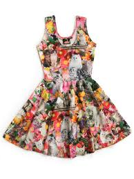 kitty garden party print fit and flare dress pretty snake
