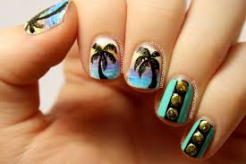 packapunchpolish palm tree gradients and studs nail art inspired