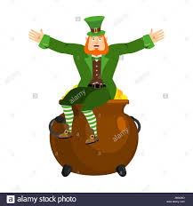 leprechaun and pot of gold dwarf with red beard and boiler of