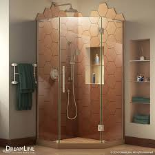 shop dreamline prism plus 36 in to 36 in w frameless brushed