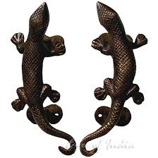 pair of brass lizard animal door handles handmade cabinet pulls