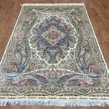 Inexpensive Floor Rugs Amazon Com 5ftx8ft Traditional Blue Qume Handmade Silk Carpets