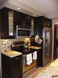 Kitchen Counter Backsplash L Modern Small Kitchen Design With Black Painted Cherry Wood