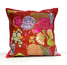 a home decorative pillow kantha stitch floral traditional red a home decorative pillow kantha stitch floral traditional red cushion cover
