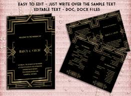 deco wedding program printable wedding program template deco great gatsby