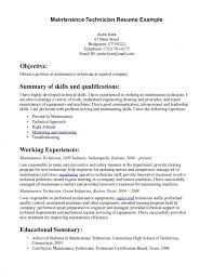 Sample Resume For Technician by Sample Resume Maintenance Technician Resume Template Free