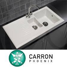 Carron Phoenix Sienna   Bowl Gloss White Ceramic Kitchen - Carron phoenix kitchen sinks