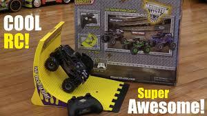 toy monster truck videos for kids rc toys monster jam mohawk warrior 360 backflip ramp play set